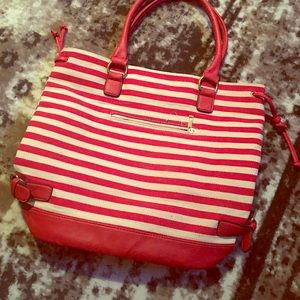 Red and white striped bag🌟